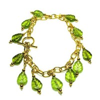 Green Leaf and Gold Chain Charm Bracelet with Toggle Clasp