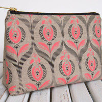 Art deco rose print make up bag