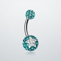 Shining Star Tiffany Inspired Sparkle Ferido Belly Ring