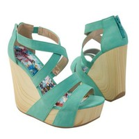 Qupid Women's CAFE13X Criss-cross X-Strap Wooden Wedge Platform High Heel Strappy Sandal Shoes, Sea Green PU Leather