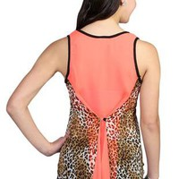 cheetah print high low racerback tank top with button back