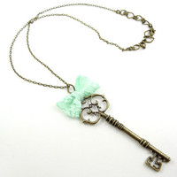 Antique Key Necklace Pendant with Turquoise Pastel Green Bow Tie Long Necklace Unique Spring Jewelry
