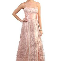 peach spaghetti strap long prom dress with pearl and sequin accents - 1000041183 - debshops.com