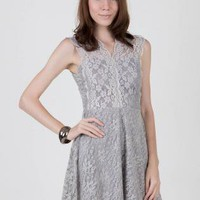 Dark Grey Lace Skater Dress