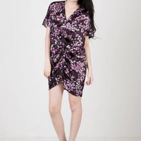 Oversized Purple Floral Shift Kimono Dress