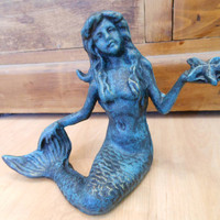 Cast Iron Mermaid with Starfish by LiveCoastal on Etsy
