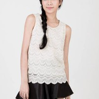 White Lace Scallop-Tiered Top