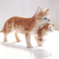 Vintage Momma Cat Orange Tabby Carrying Her Kitten by jarmfarm