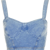 Denim Look Bralet Top - Topshop