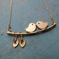 Engagement Gifts LOVE BIRDS Necklace Gold Filled by BlueDoveStudio
