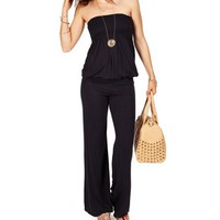 Navy Smocked Strapless Jumpsuit