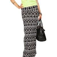 Black/White Tribal Print Maxi Skirt