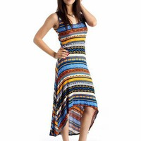 tribal print high-low maxi dress $27.60 in BLUE - Tribal | GoJane.com