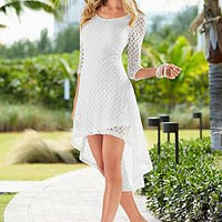 Casual Lace crochet dress, floral detail wedge