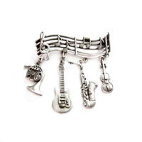 JJ Pewter Musical Instrument Charm Brooch