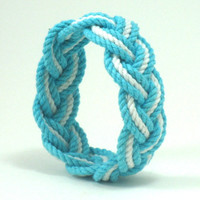 Rope Bracelet in Turquoise and White Cotton Sailor Bracelet
