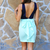 Better With Bows Dress: Navy/ Mint | Hope's