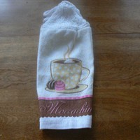 Mellowing Moccachino Hanging Dish Towel With Hand Knit Topper and Ties
