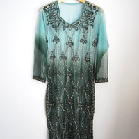 Vintage Ombre Dyed Rhinestone Sequin Beaded Sheer Dress