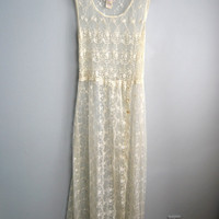 April Showers - Vintage White Lace Sheath Overlay Dress Festival Boho