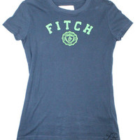 Abercrombie & Fitch Navy Blue T-Shirt with Lime Green Accents - Size Medium