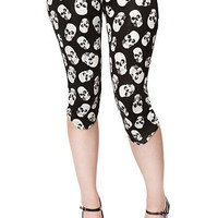 Shadowy Skulls Cropped Leggings