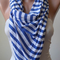 Blue and White Scarf -- Combed Cotton Fabric for Summer