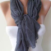 Gift - New Scarf - Mother&#x27;s Day Gift -  Dark Gray Scarf - Tulle Fabric - Seamless Shawl