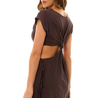 RVCA Fringe Top Tempting Cutout Back in Grey