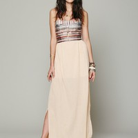Free People Embroidered Stripe Gauze Maxi