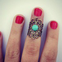 alapop  turquoise and antique brass filigree knuckle ring