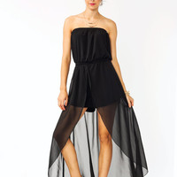 strapless-draped-romper BLACK DUSTYPEACH - GoJane.com