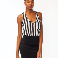 striped-contrast-mini-dress BLACKWHITE ORANGEWHT - GoJane.com