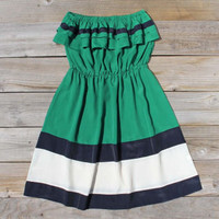 Kelly Green &amp; Ruffles Dress, Women&#x27;s Sweet Bohemian Clothing