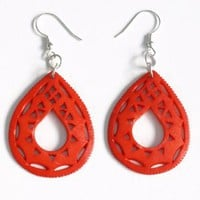 Handmade Earrings - Taj earring red