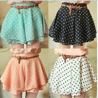 Sexy summer — 042921 Pleated Polka Dot Chiffon Divided Skirt Mini Dress Shorts culottes w/Belt