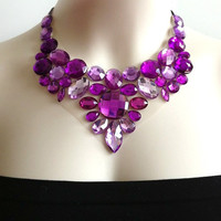 purple bib necklace - rhinestone statement necklaces party wedding prom bridesmaids bib necklace NEW