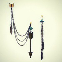 alapop — arrow feather and turquoise ear cuff earrings