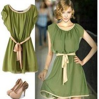 Beautiful clothes — Lotus leaf sleeve nip-waisted dresses