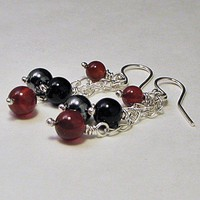 Dangle Earrings Sterling Black and Red | LaraJordanJewelry - Jewelry on ArtFire