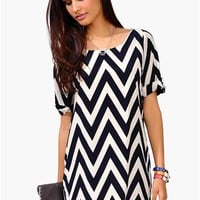 Cory Chevron Dress - Navy