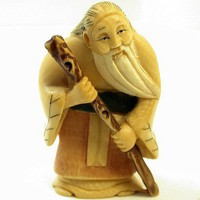 VINTAGE Genuine IVORY NETSUKE- Fukurokuju bearded man with cane pkg1 | EurekaEureka - Jewelry Supplies on ArtFire