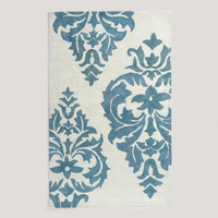 5&#x27;x8&#x27; Blue Damask Hand-Painted Rug