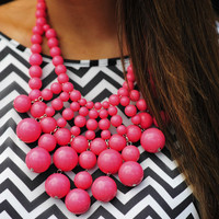 Big Bold Bubble Necklace: Coral Pink | Hope's