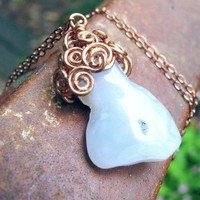 Blue Lace Agate Geode Slice Copper Wire Wrapped Pendant Necklace