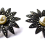 Unique Vintage Sterling Silver Marcasite and Pearl Pierced Earrings