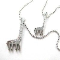 SALE - Giraffe Animal Charm Layered Necklace in Silver