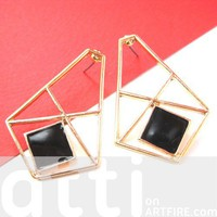 Pretty Geometric Art Deco Inspired Stud Earrings in Gold and Black