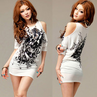 Casual Womens Graphic Micro Mini Dress White Off Shoulder T-shirt Tops Sexy u2