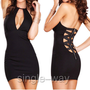 Black V Collar Tight Back Zip Dress